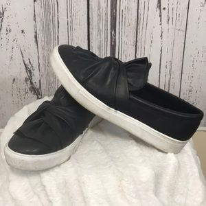 Mia black slip on shoes